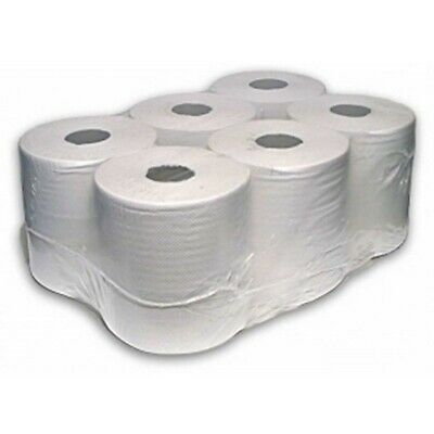 6 Pack  White Shade 2Ply Center Feed Roll Embossed Hand Wipes New