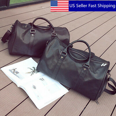 US Men Women Leather Outdoor Gym Duffel Bag Travel Shoulder Luggage Handbag Tote