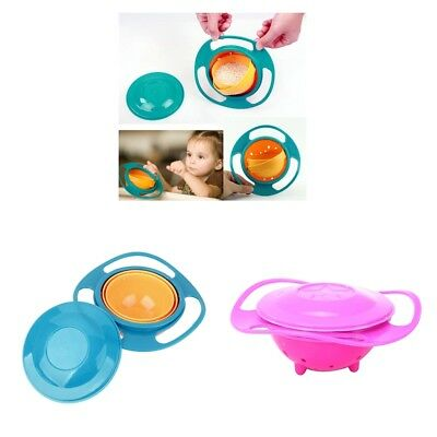 2xNon Spill Feeding Toddler Gyro Bowl 360 Rotate Baby Avoid Food Spilling