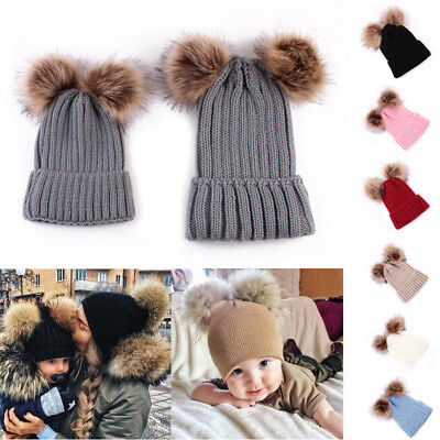Warm Winter Mom+Child Baby Kids Bobble Knit Hats Fur Pom Crochet Ski 1PCS Cap