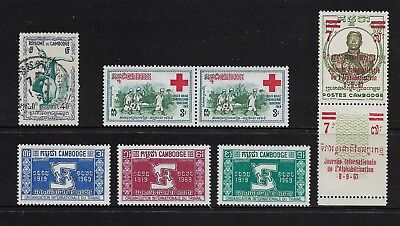 CAMBODIA mixed collection No.6, incl 1968 Red Cross, 1969 ILO, mint & used