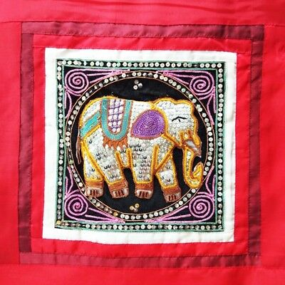 EMBROIDERED PILLOW CASE   SEQUIN  CUSHION HMONG ELEPHANT VELVET PEARL BEADS