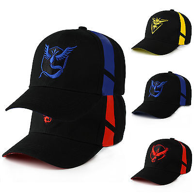 Pokemon Go Team Mystic InstInct Valor Baseball Cap Cosplay Hiphop Sport Sun Hats