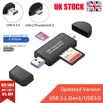 3 in 1 USB 3.0 Type C USB C TF SD Card Reader Adapter For Macbook Android