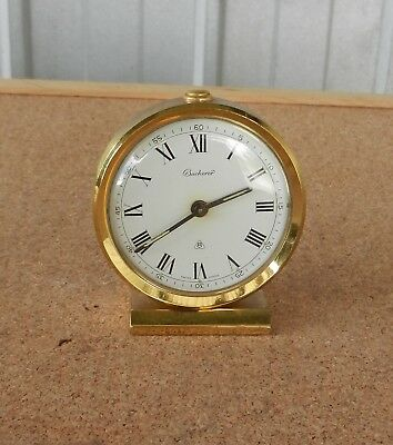 Vintage Bucherer Alarm Clock 8 Day Alarm Travel Shelf Mantle Swiss Gold