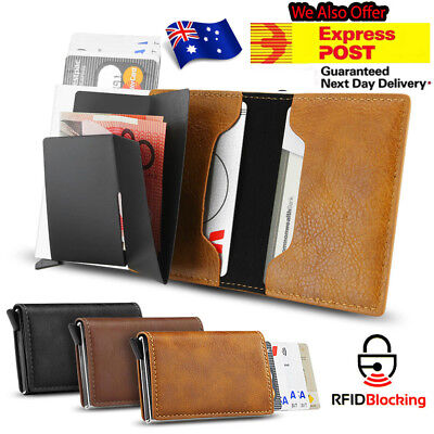 RFID Blocking Leather Credit Card Holder Money Wallet Clip RFID Blocking Purse