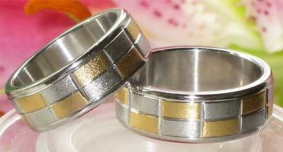MENS  WOMENS  CHECK STAINLESS STEEL 316L 5MM OR 8MM wedding ring band  str224