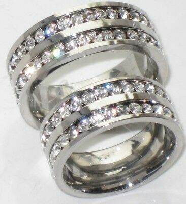 Mens Womens Simulated Diamonds 7Mm  Wedding Ring Band Str991W Stainless Steel