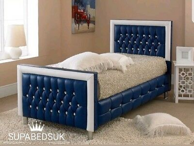 New Kids Designer Football Leather Bed Frame Diamantes 2FT6 3FT Single UK MADE