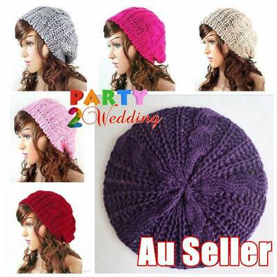 Women Lady girl Winter Warm Knitted Crochet Slouch Baggy Beret Beanie Hat Cap