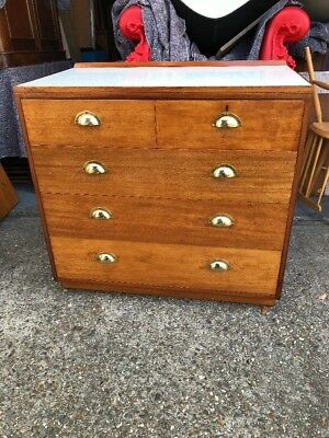 1960s vintage teak military army 5 drawer chest cabinet. Delivery Available