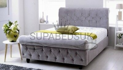 4ft & 4FT6 Double MYA CHESTERFIELD UPHOLSTERED SLEIGH BED FRAME UK HANDCRAFTED