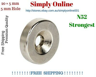 1 PCS N52  20mm × 5mm 5mm Hole Strong  Round Disc Magnets Rare Earth Neodymium