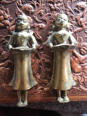 Antique Solid Brass Bronze Statues Hindu Indian God Sculptures 17th 18th Century