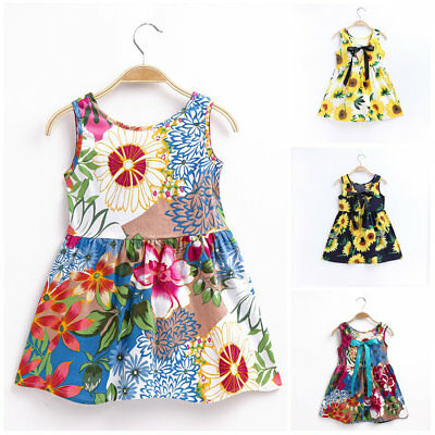 Toddler Baby girls summer dress casual sleeveless dress kids clothes  sunflower
