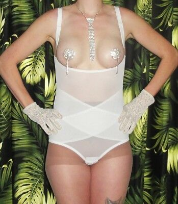 Vintage White Open Cup Shapewear Body Girdle XL Pin up clothing girl sissy retro