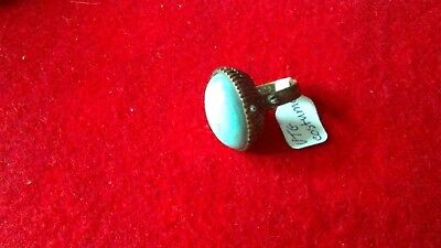 Poison Ring Blue Turquoise Cabochon Strone Brass Adjustable Ring Robins Egg Blue
