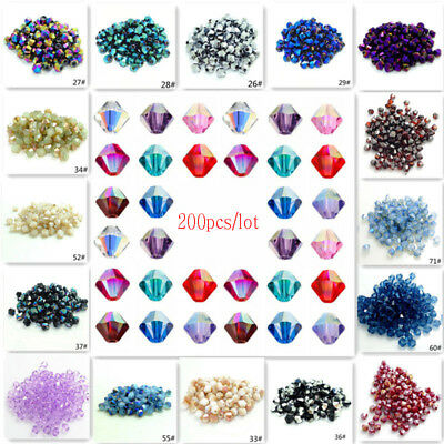 Wholesale 200 X Crystal Czech Glass Bicone Loose Spacer Beads Jewelry Making 4mm