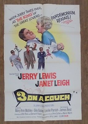Jerry Lewis Three on a Couch  Movie Poster 1 Sheet 27x 41 1966 Mary Ann Mobley