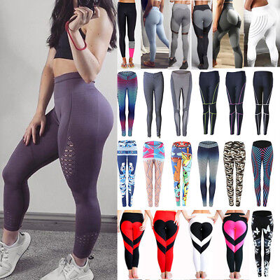 Womens Yoga Workout Gym Leggings Fitness Running Sports Pants Stretch Trousers B