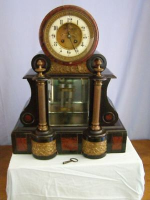 Old Napoleon clock in marble and bronze, mercury pendulum