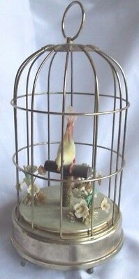 Schmid Bros Inc Bird In Cage Music Box Plays Oh What A Beautiful Morning VINTAGE