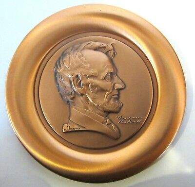 NORMAN ROCKWELL'S ABRAHAM LINCOLN PENNY CERTIFIED PURE COPPER 16 oz PLATE #8178