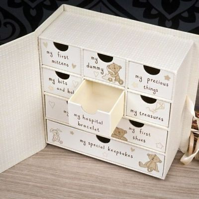 Button Corner Baby Keepsake Memory Box Drawers Chest Newborn Christening Gift /