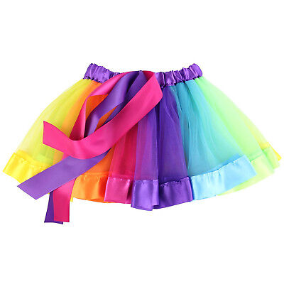 Tutu Party Skirt Girls Kids Baby Dance Fluffy Ballet Dress Fancy Rainbow Costume