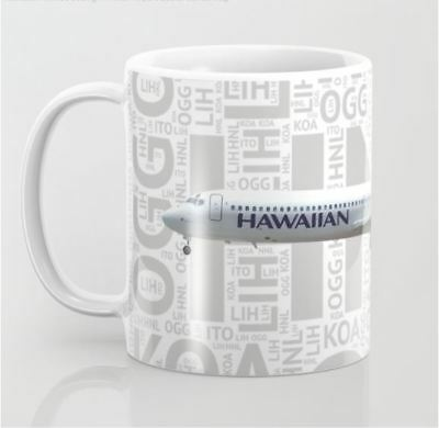 Hawaiian Airlines Boeing 717 with Airport Codes - Coffee Mug (11oz)