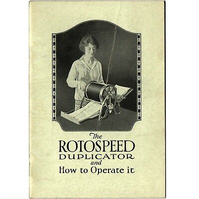 ca.1920 Rotospeed Stecil Duplicator Instruction Manual How to Operate Antique