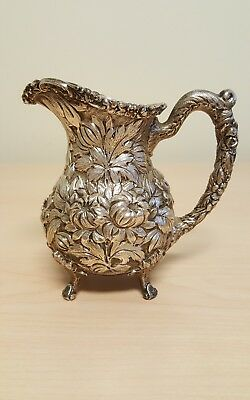 Rare Antique Stieff Hand Chased Repousse Rose Sterling Silver Creamer