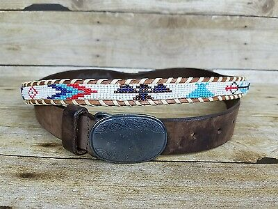 2 Vtg Child Leather Belts Bass Buckle Beaded Western Native American Indian Sz S
