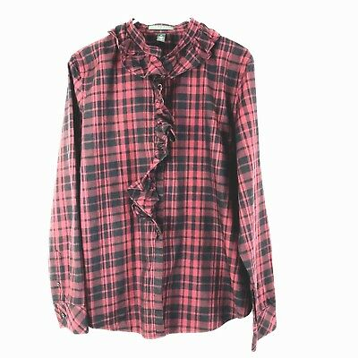 9af11140 LAUREN RALPH LAUREN Plaid Flannel Shirt Button Up Purple Brown ...