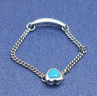 387ff18ee Cyan Blue CZ Spirited Heart Chain Ring w Signature Band Chs. Sz Sterling  Silver