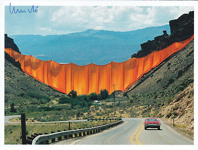 """CHRISTO (1935) """"Valley Curtain, 1970-72"""" orig. sign. card 13x17 / autograph"""