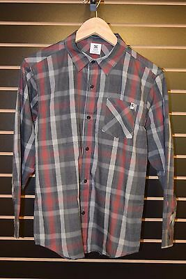 b66038f13 BIG BOYS DC Shoes Button Up Plaid Shirt Gray/Red Casual Skate Size X ...