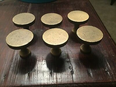 Distressed Solid Brass Modern Round Cabinet Knobs Lot of 6