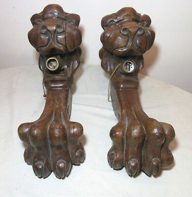 pair LARGE antique hand carved wood brass lion claw electric wall sconce fixture