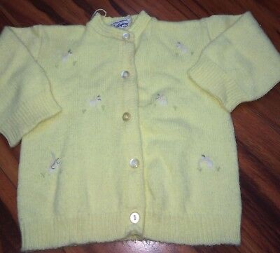 Vintage Knitted Acrylic Yellow Button Up Sweater Baby Knit Soft