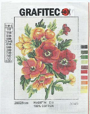 Grafitec Printed Tapestry Needlepoint Canvas - Summer Florals, Anemones