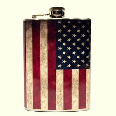 Old American Flag Hip Flask Stainless Steel 8oz Red White & Blue Go Team USA