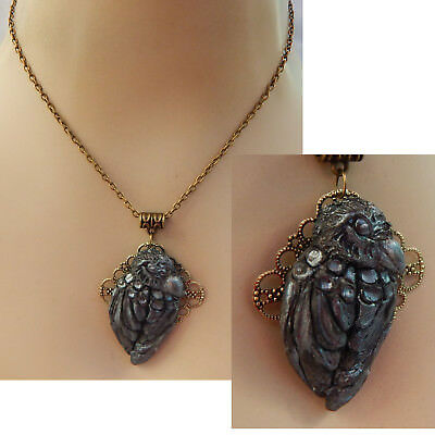 Raven Necklace Pendant Jewelry Handmade NEW Hand Sculpted NEW Clay Gold Artist