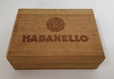 "Vintage Empty Habanello Cigar Box Solid Wood 5.5""×4""×1.5"" Trinket Storage Box"
