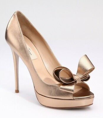 1f0d74b346f $795 NIB VALENTINO Garavani Couture Bow Pumps In Gold Rose 40 Us 10 ...