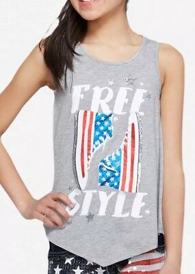 ee8e7bceaf NWT Justice Girls Tank Top Shirt Navy Blue USA Patriotic 4th of July Size 20