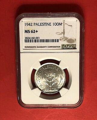 Palestine -1942 Uncirculated 100 Mils ,graded By Ngc Ms62+..rare Grade.