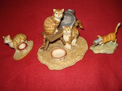 Lowell Davis Cat Figurines - Milk Bucket Cats, Cat in Salmon Can & Awaiting Food