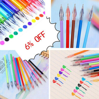 12PC set Diamond Gel Pen School Supplies Draw Colored Pens Refill Student Candy
