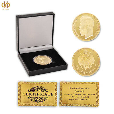 1901 Russia Ruble Nicholas II Emperor Gold Old Coin Collection W/ Luxury Box